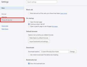 حریم خصوصی در اپرا نسخه دسکتاپ